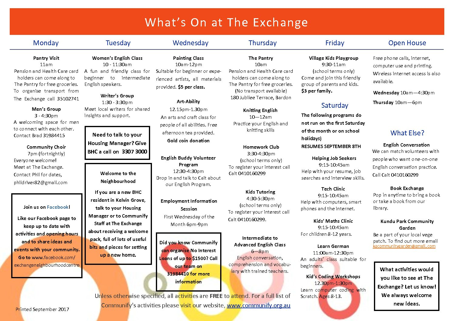 What's On at The Exchange